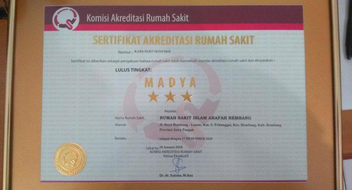 RSI Arafah Rembang Raih Akreditasi Madya